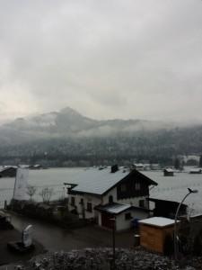 leichter Schneefall morgens in Oberstdorf 09.12.2014